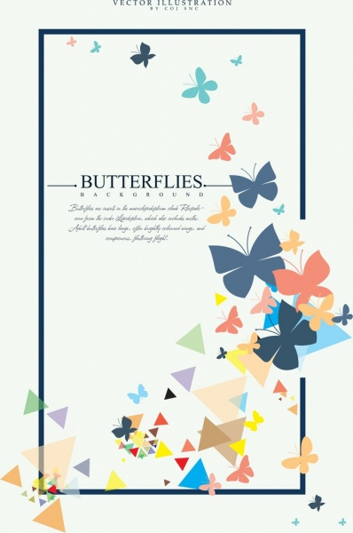 butterflies background colorful flat icons