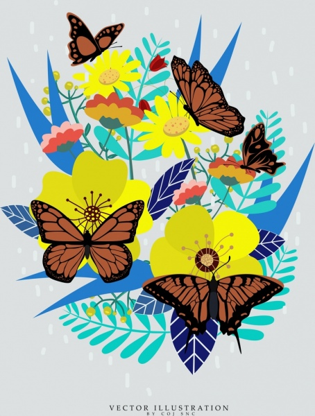butterflies background colorful flowers icons decoration