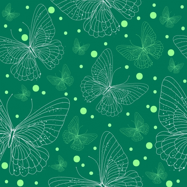 butterflies background green design repeating sketch