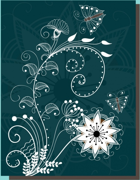 butterflies floral background white design classical curves style