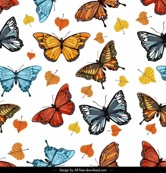 Butterflies Pattern Colorful Design Leaves Decor Free Vector In Amazing Butterfly Pattern