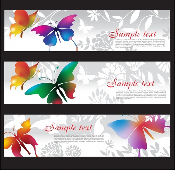 decorative banner templates colorful flat butterflies botany decor