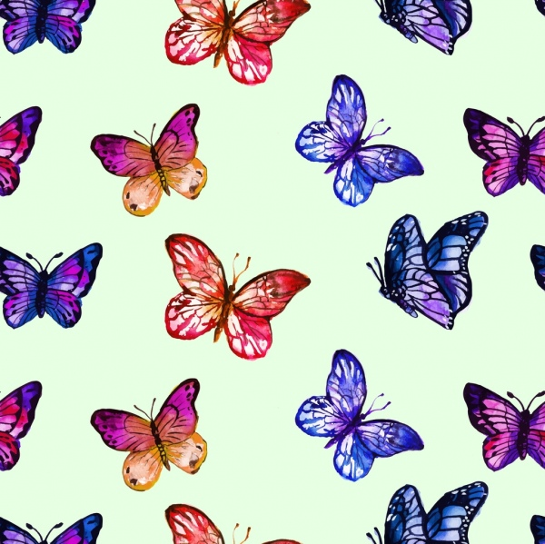 butterfly background colorful flat icons decoration