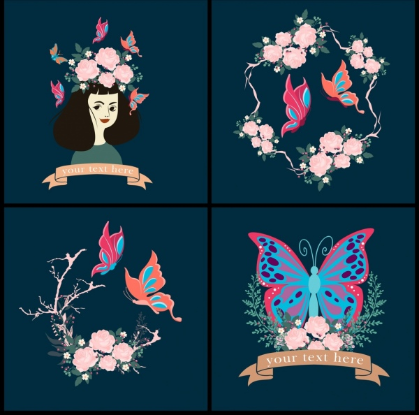 butterfly decorative background sets multicolored flowers decor