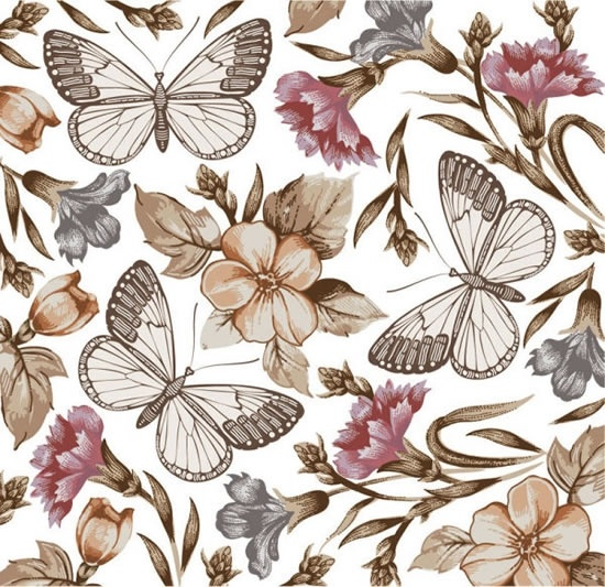 Butterfly Flower Pattern Vector Free Vector In Encapsulated Extraordinary Butterfly Pattern