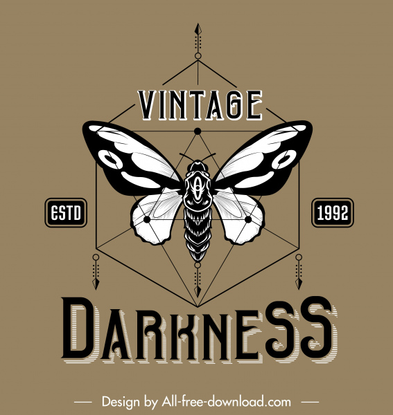 butterfly logo template black white vintage symmetric decor