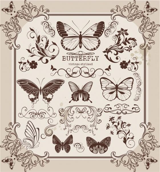 document decorative elements classic symmetric elegant butterflies shapes