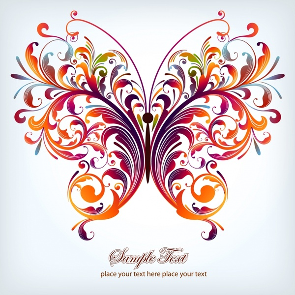 decorative butterfly icon modern colorful symmetric curves sketch