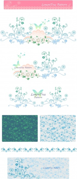 flowers pattern design elements classical seamless curves ornament