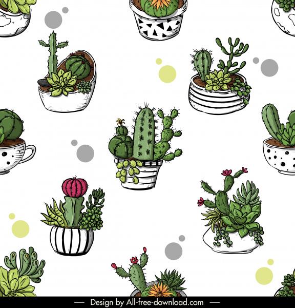 cacti pots pattern bright colored classic handdrawn sketch