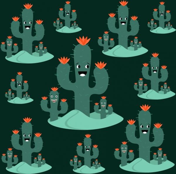 cactus background stylized tree green tree icons
