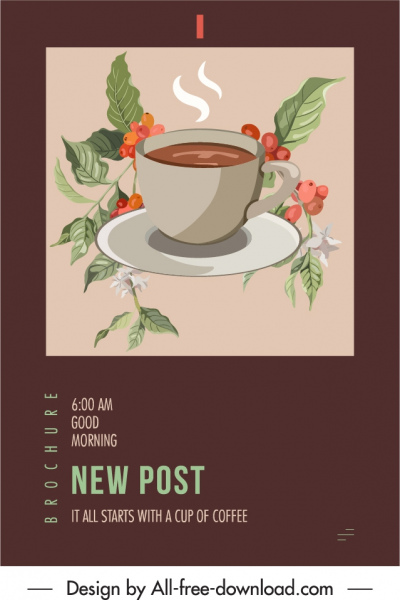 cafe advertising poster elegant classic cup plants sketch