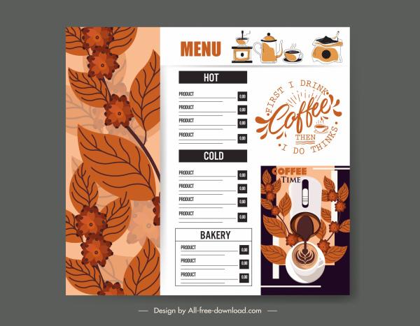 cafe menu template contrast design classic elegance