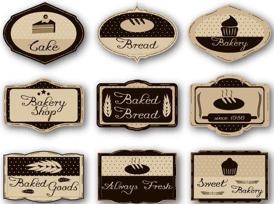 cake labels vintage style vector