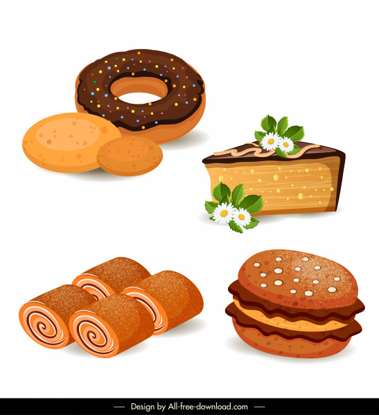 cake pie icons classic colored shapes design