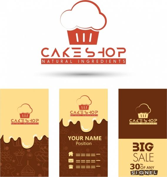 cake shop logotype various promotional background