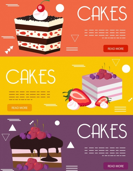 Cakes Advertising Banner Colorful Decor Webpage Design Free Vector