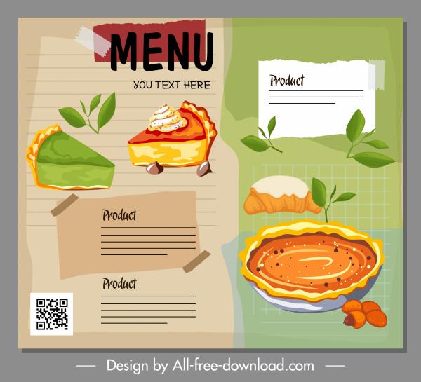 cakes menu template elegant classical handdrawn design