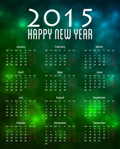 calendar15 with bokeh background vector illustration