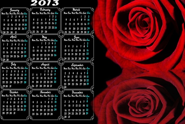 calendar 2013 and rose