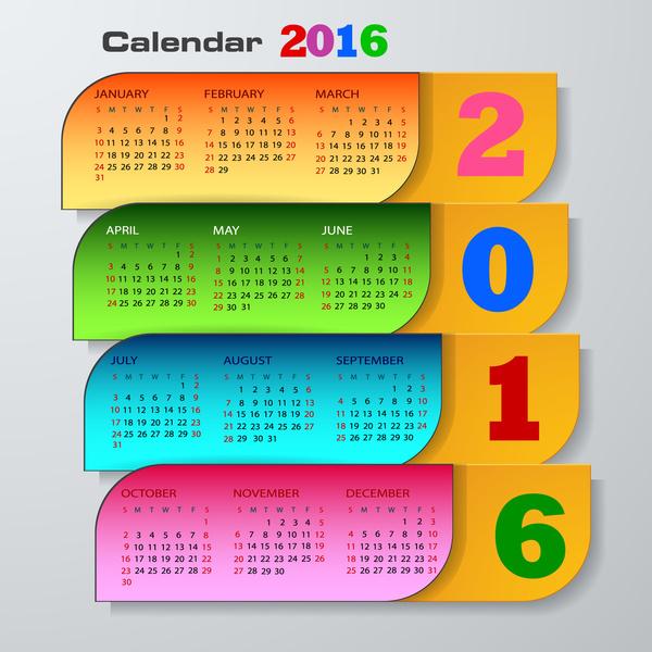 Calendar 2016 Template Free Vector In Adobe Illustrator Ai