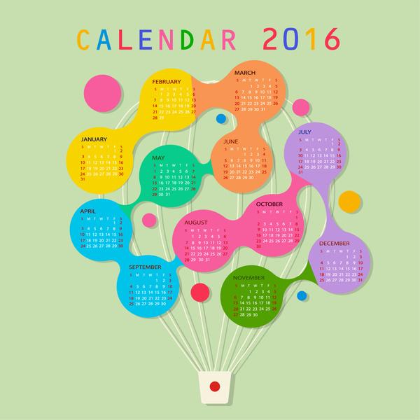 calendar 2016 template balloon