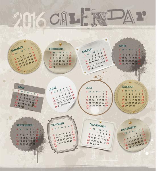 calendar 2016 template grunge