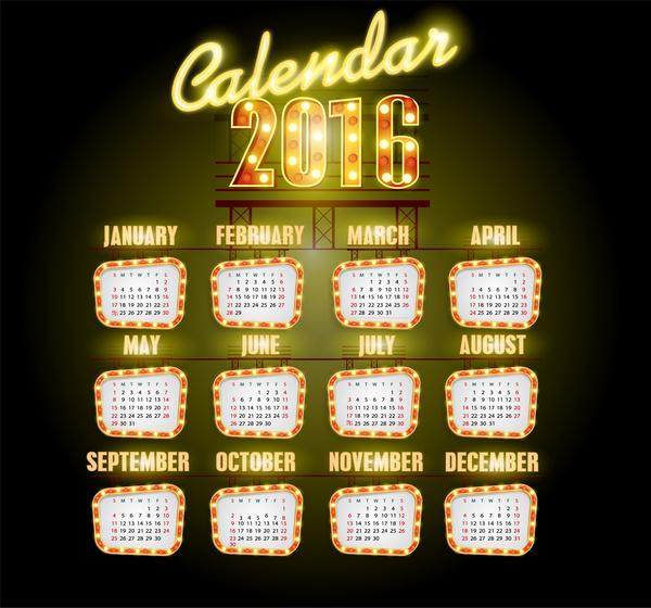 calendar 2016 template neon light