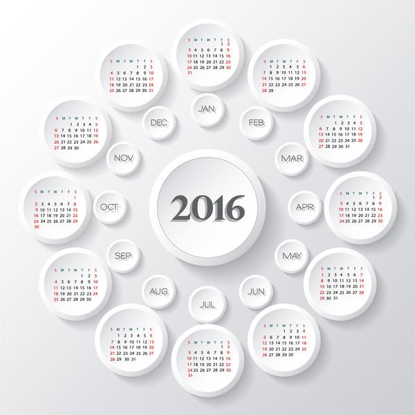 calendar 2016 template round button