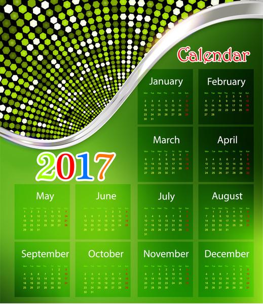 calendar 2017 design with green background modern style