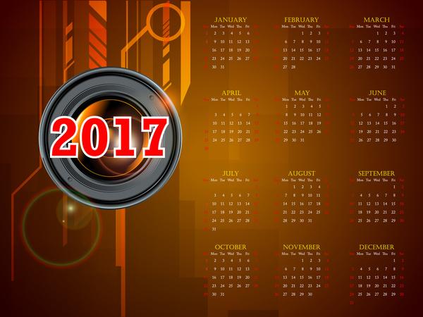 calendar 2017 templates camera len