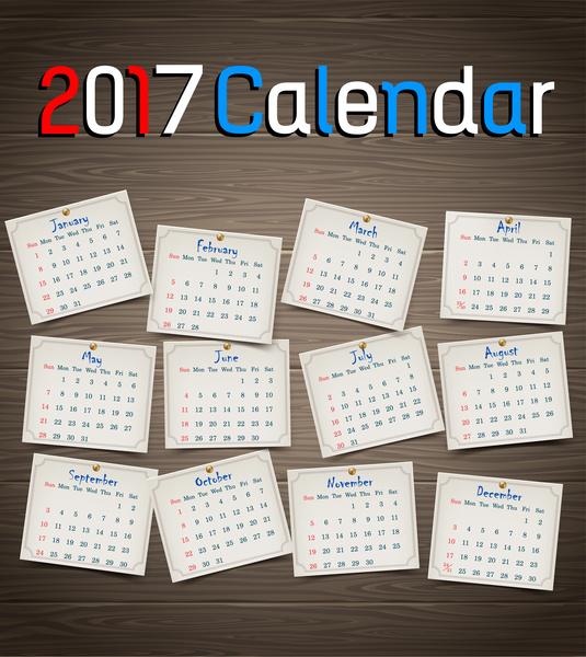 calendar 2017 templates pin table