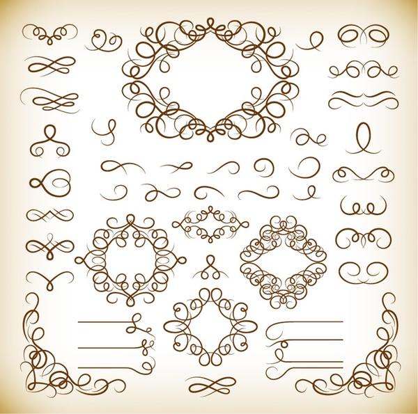 calligraphic decorative elements vector graphics set