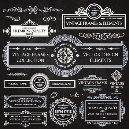 calligraphic frames with decor elements vintage styles vector