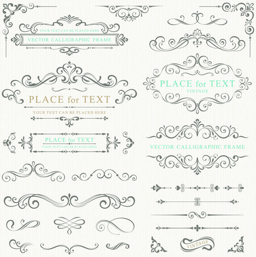calligraphy decorative frame with corner vector