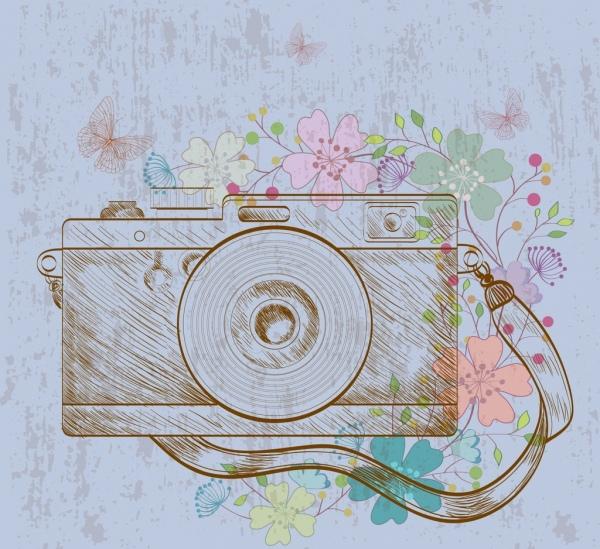 camera drawing retro handdrawn design