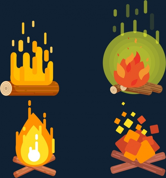 campfire icons colorful 3d design