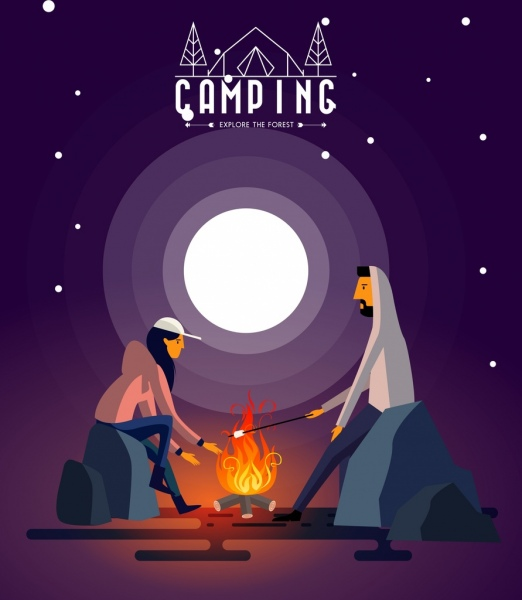 camping advertising banner human flame round moon icons