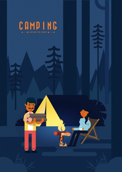 camping advertising banner outdoor tent colored cartoon