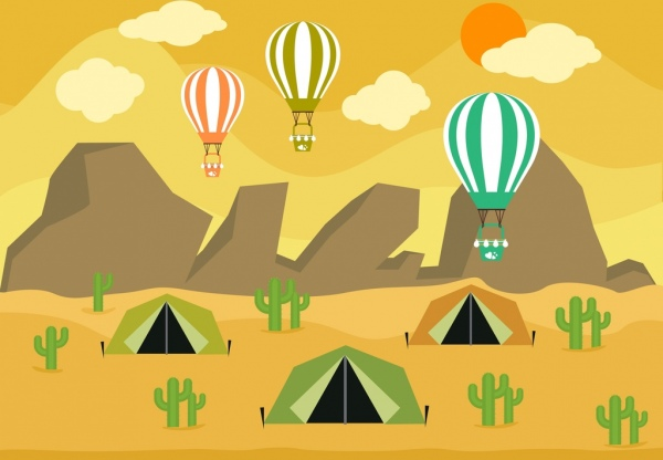 camping background tent balloon icons mountain desert backdrop