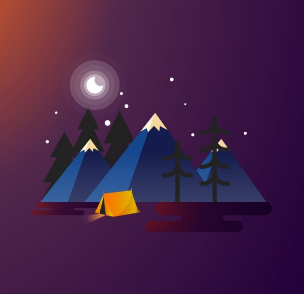 camping background tent mount icons colored 3d decor