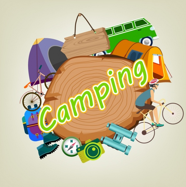camping background various colored symbols decoration