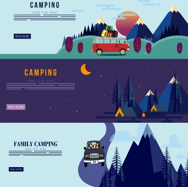 camping banner sets mountain tents driving car icons