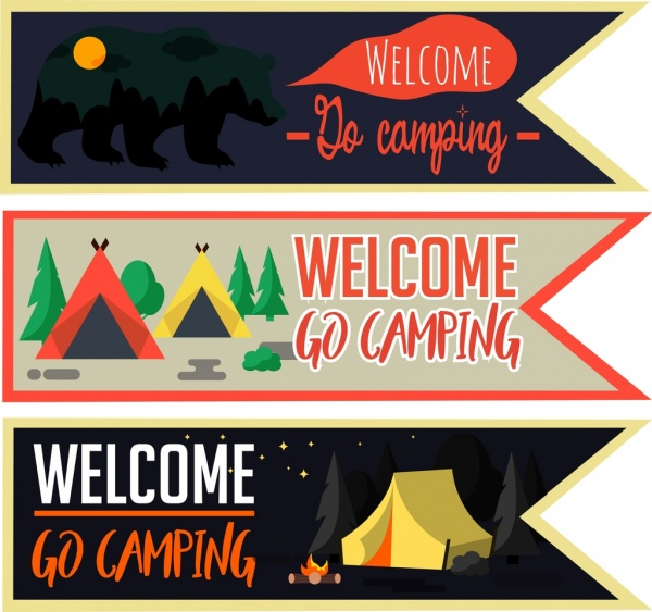 camping banner sets tents animal night icons decoration