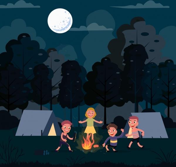 camping drawing joyful children night moon cartoon design