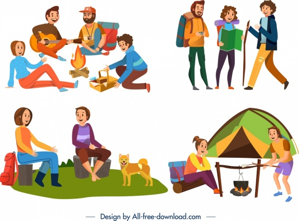 camping icons people activities design colored cartoon characters