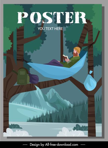 camping poster tourist hammock sketch cartoon design