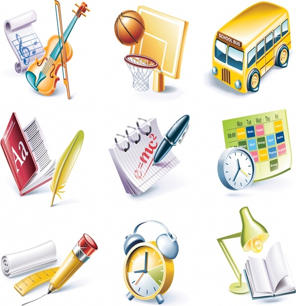 educational icons collection colored modern 3d design