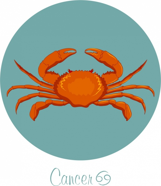 Cancer Zodiac Sign Icon Colored Crab Decor Free Vector In Adobe