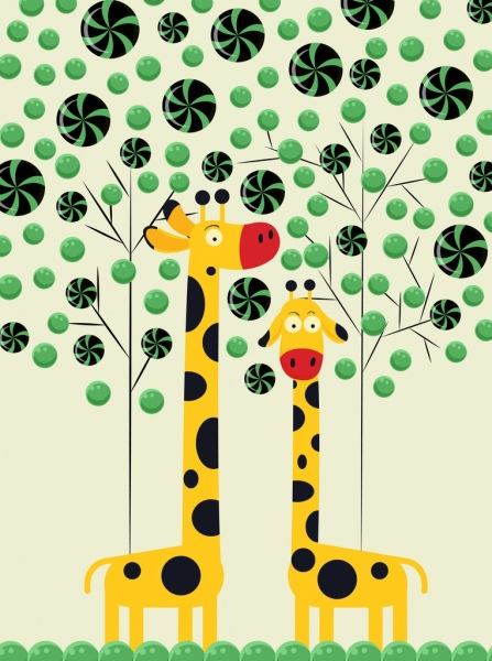 candies background trees giraffe icons colored cartoon